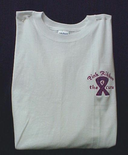 Breast Cancer Awareness Pink Ribbon 4 Cure White S S T Shirt L