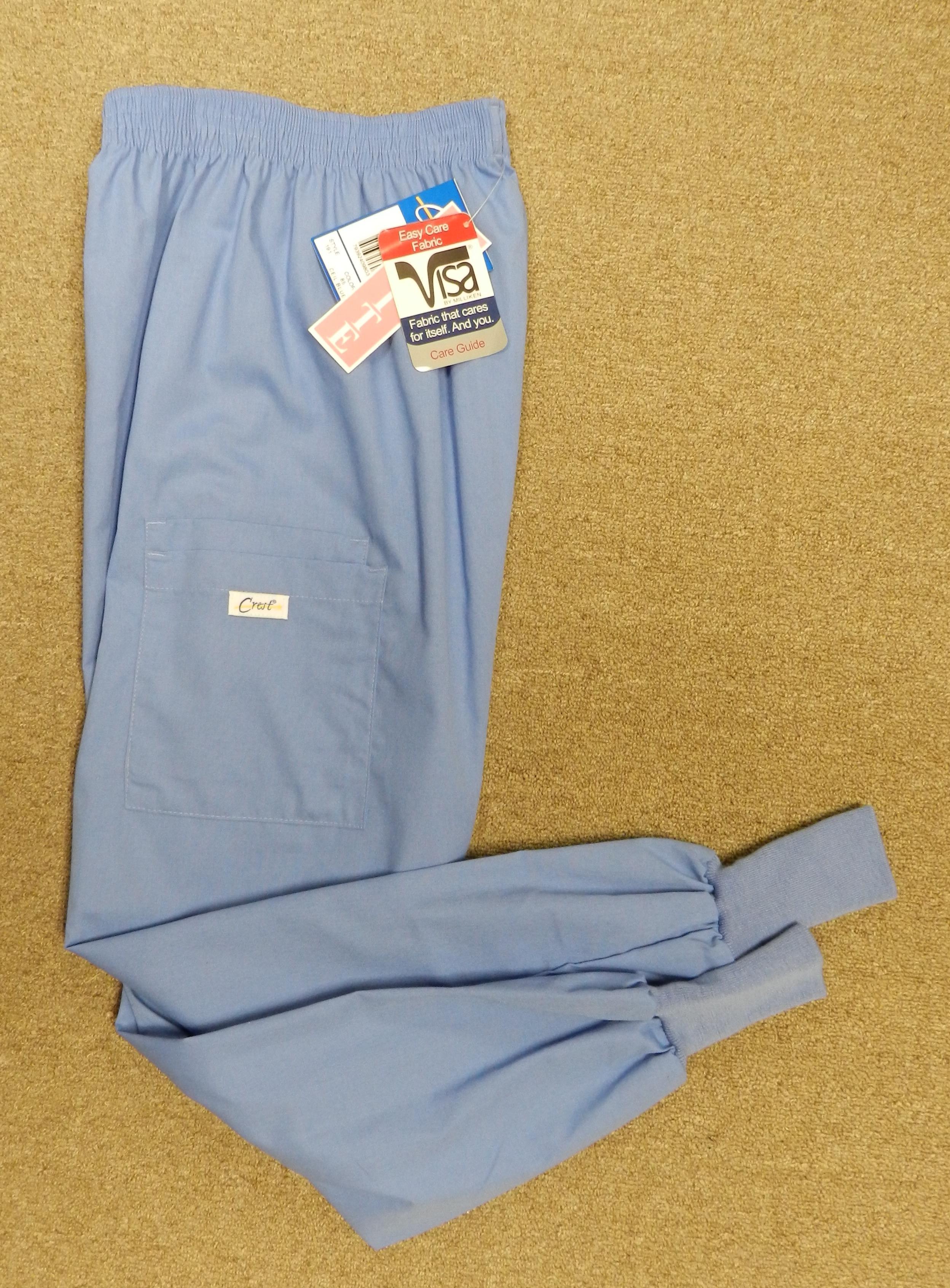 Crest Ceil Blue Uniform Scrub Pants Knit Cuff XS Petite 191 New