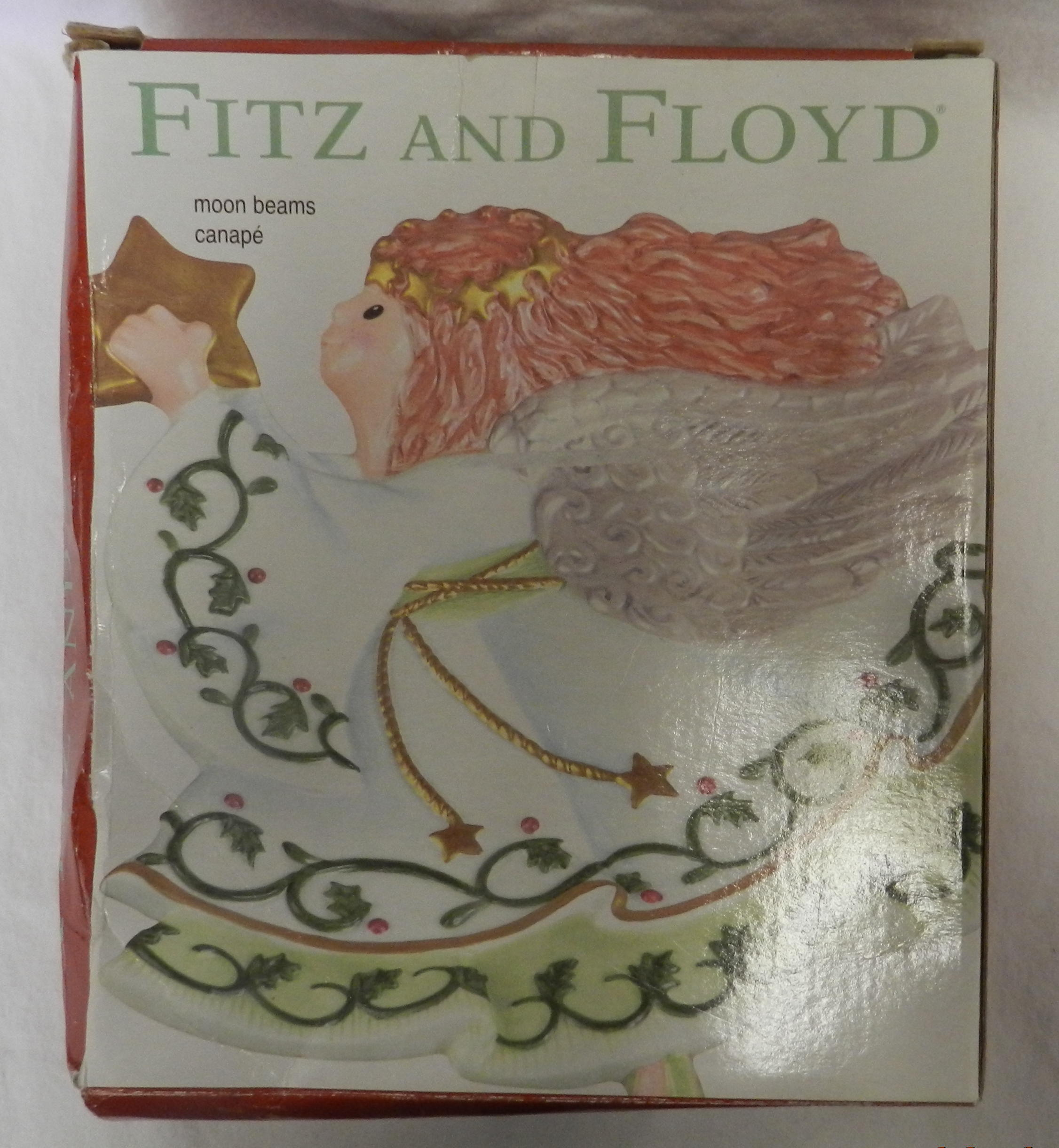 Fitz and floyd christmas moon beams angel star canape for Fitz and floyd canape plate