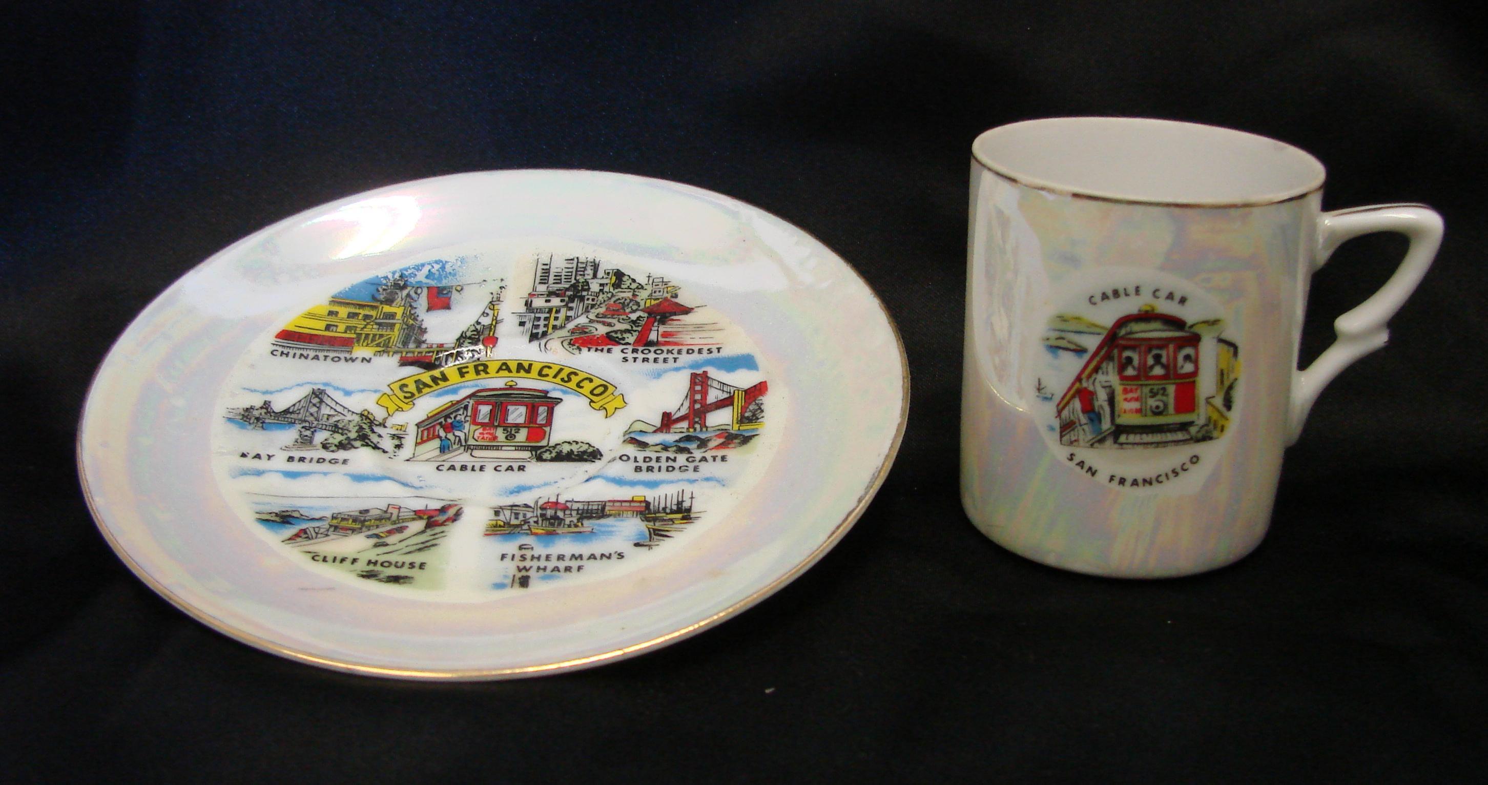 Vintage RARE Iridescent San Francisco California Souvenir Small Cup