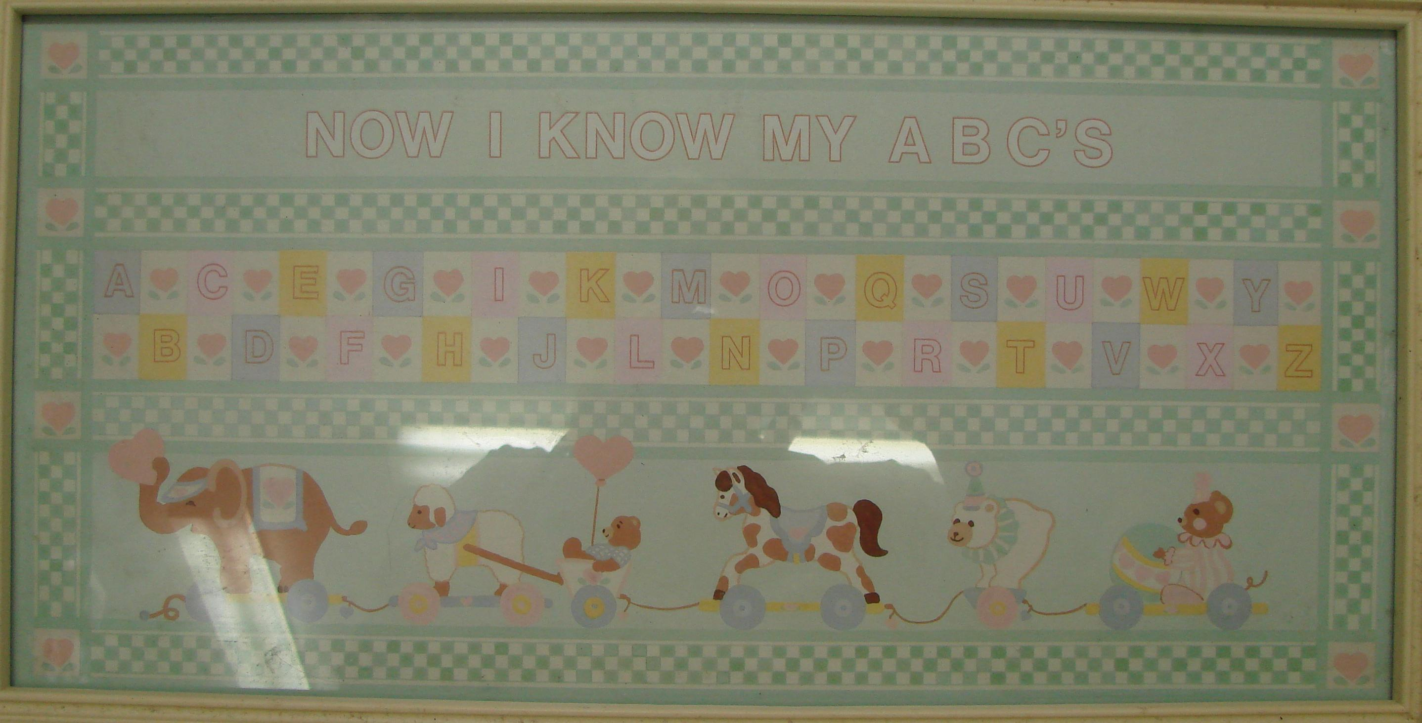 ABCs Teddy Bear Nursery Baby Wall Framed Print Picture