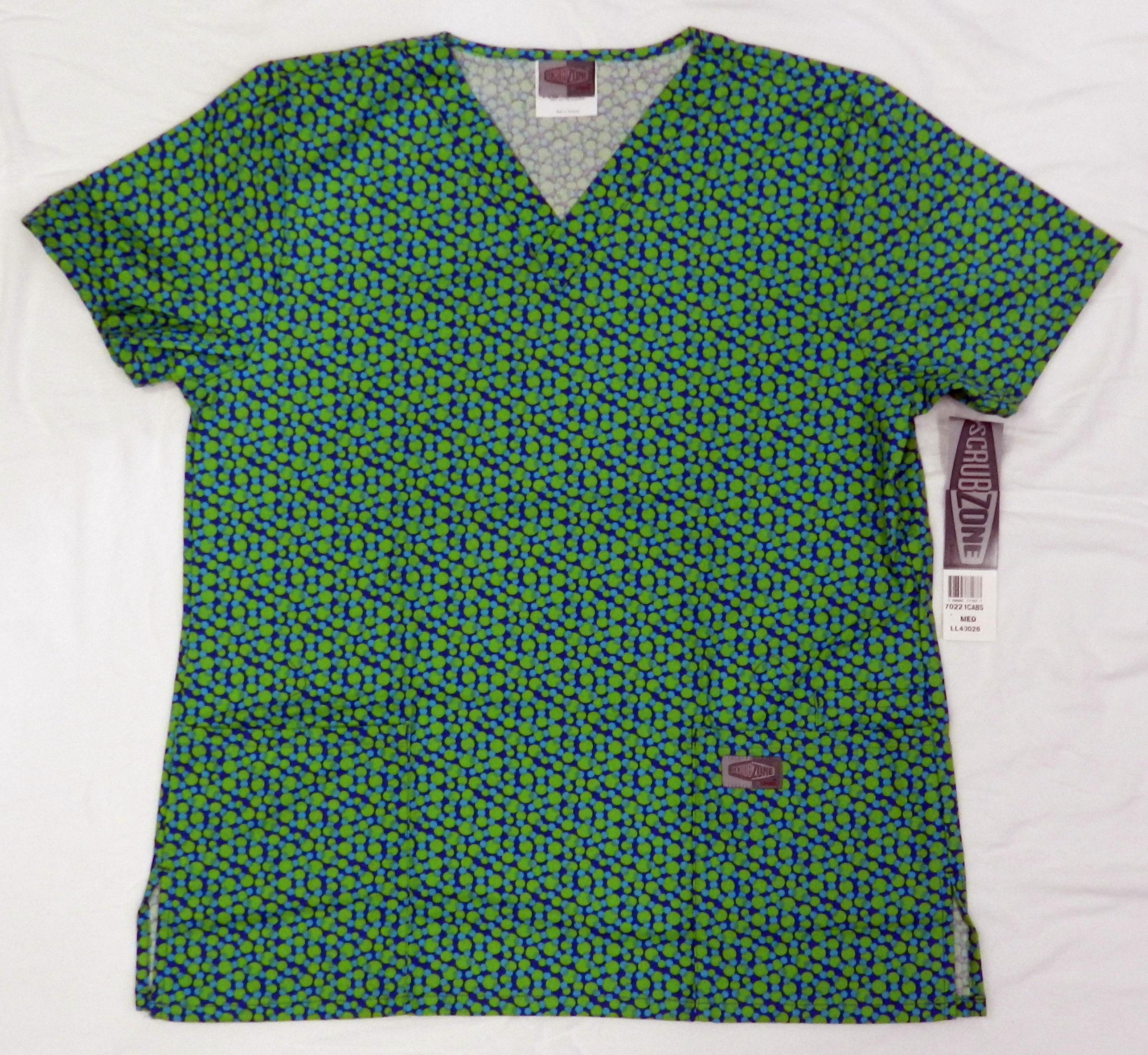 70221 green aqua blue polka dot v neck medical uniform scrub top