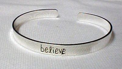 Believe Silver Plate Cuff Awareness Bracelet Inspirational NIB