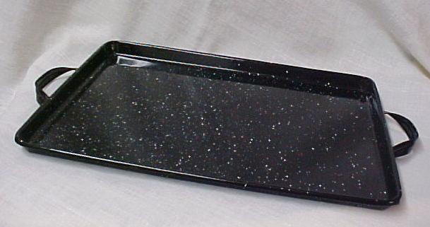 Black Agate Enamel Ware Serving Tray Handles Retro Ebay